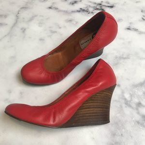 LANVIN Ballerina Wedge Pumps Red